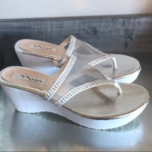 Nina white mesh wedge sandals
